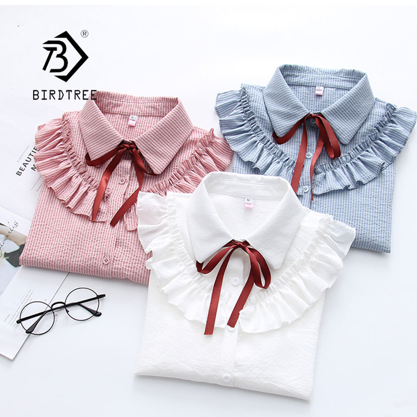 2019 Woman Striped Shirt Single Breasted Ruffles Turn Down Collar Long Sleeve  Chiffon Blouse Lace Up Bow Feminina HOT T8D407Z