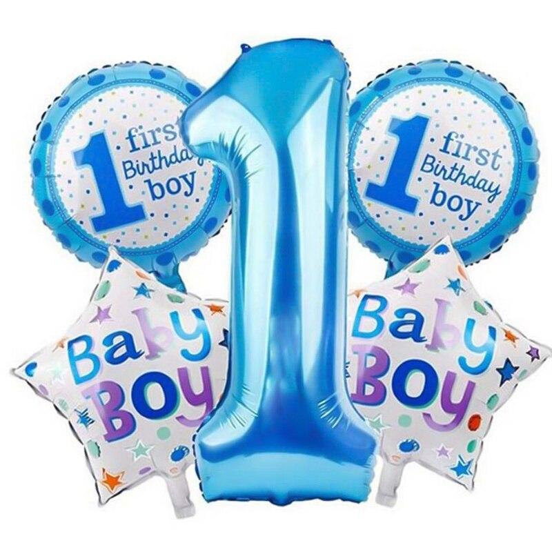 5 Stücke Baby 1st Luftballons Spielzeug Set Rosa Blau Anzahl Folie Air Kugeln Junge Mädchen Spielzeug Dekorationen Für Kinder Liefert Volumen Groß