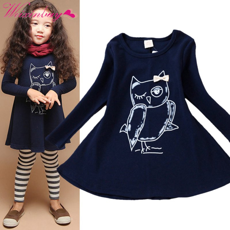 Fashion New Spring Dress Girl Long Sleeves Cotton Baby Casual Dress Girls Cartoon Owl Baby Clothes new spring fashion girl long sleeved cotton baby casual dress girl cartoon butterfly print baby dress dress children 3 7y