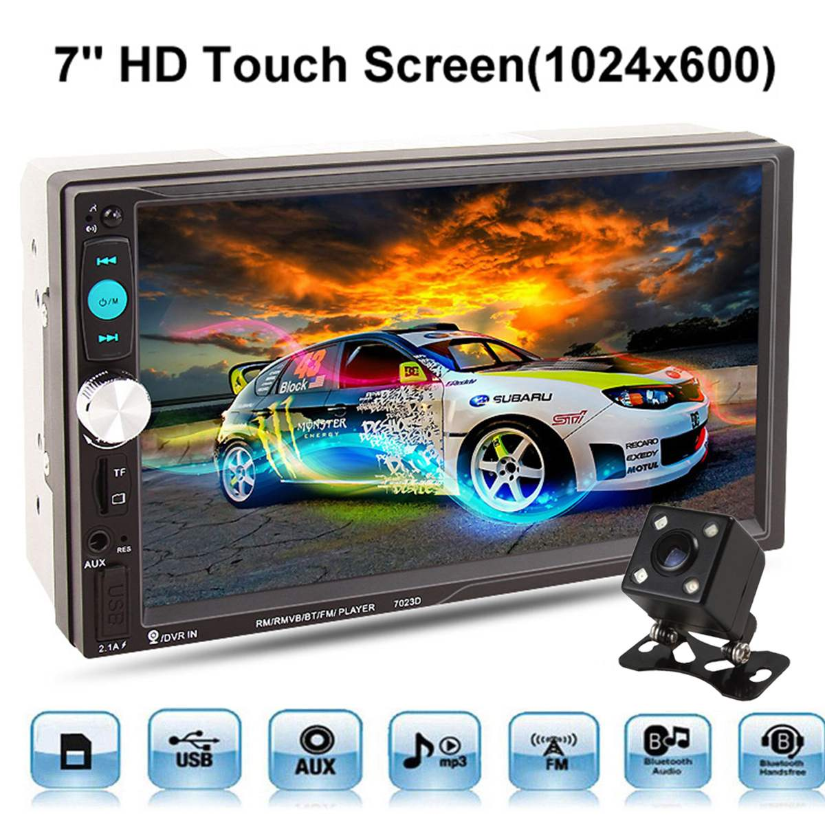 KROAK 7023D 7'' 2 Din Car MP5 Stereo Player Bluetooth Touch Screen FM Rearview Camera AUX 2 din car radio mp5 player universal 7 inch hd bt usb tf fm aux input multimedia radio entertainment with rear view camera