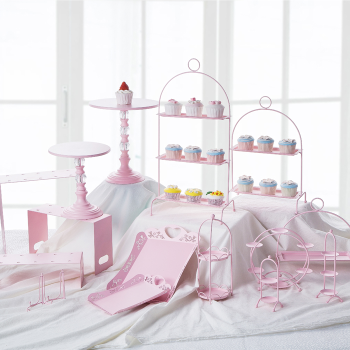 Pink Sweet Dessert Table Supplier Baker Showcase Cake Stand Wedding Props Decoration Tools Hollow Lace Tray Dessert Candy Bar