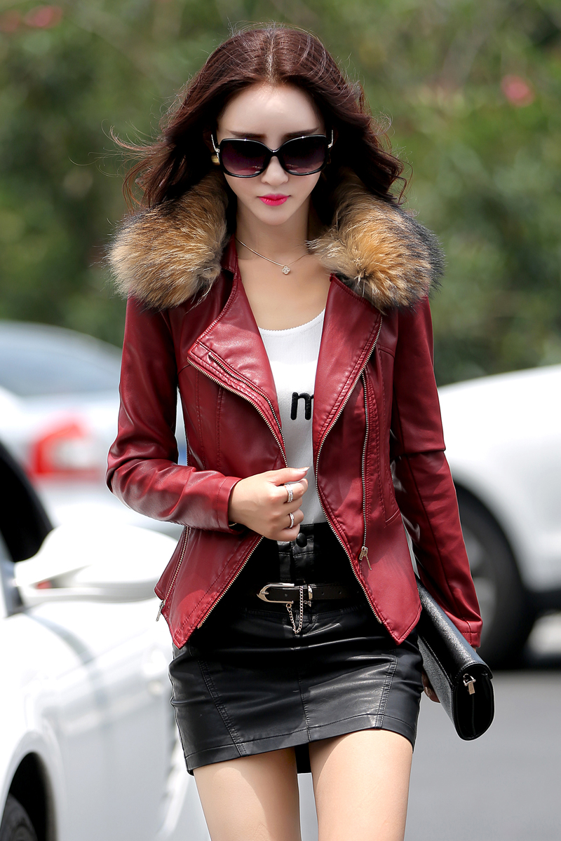 Leather Coat Women Real Fur Collar Fashion Lady Motocycle Style