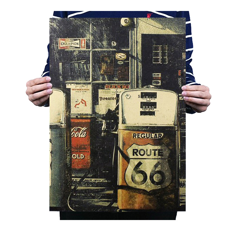 Petrol Gas Station 66 Decor Vintage Kraft Paper Movie Poster Home Wall Decoration Art Magazines Retro Posters And Prints
