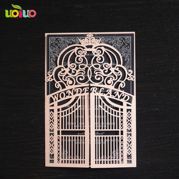 free shipping Laser cut love gate invitation cards for wedding add logo or initials for free