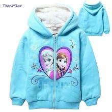 2016 Cheap Kids Jackets Baby Toddler Girls Elsa Anna Hooded Coats Child Enfant Fleece Warm WInter