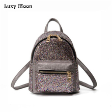 2017 New Arrival Women All-match Bag PU Leather Glitter Backpack Girls Small Travel Backpacks School Girls Bags Back Pack ZD607