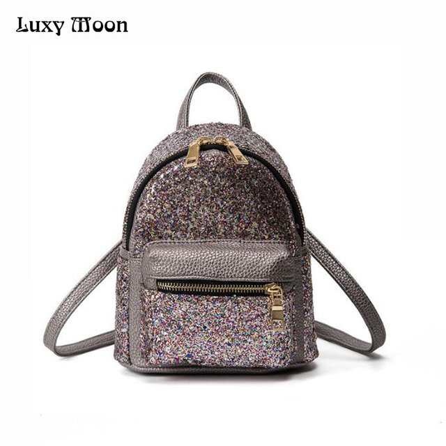 39eb57bedc 2017 New Arrival Women All-match Bag PU Leather Glitter Backpack Girls  Small Travel Backpacks