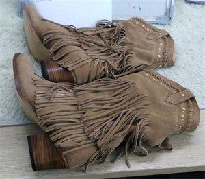 Image 2 - Femmes mi mollet talon bas bohême Style gladiateur moto bottes à franges Cowboy bottes chaussures printemps automne femmes gland bottes