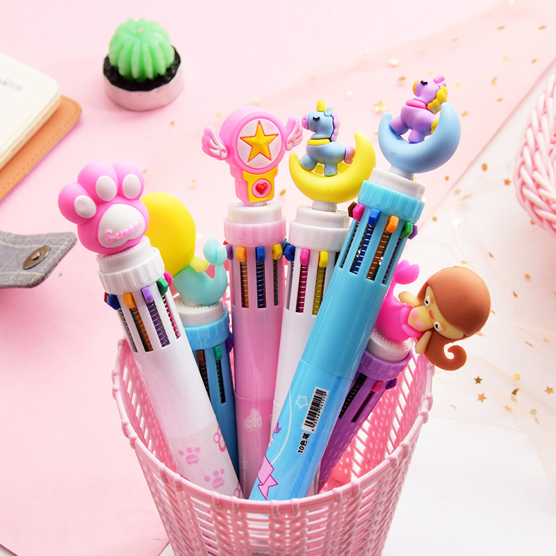 50PCS SET Japan and South Korea Network Cute Girl Heart Cartoon Multi color Press Ball Pen Student Multi function Color Pen in Ballpoint Pens from Office School Supplies