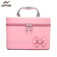 AdiYate Japan Korea Big Cosmetic Case Pink Bow Tie Cosmetic Bag Cheap Women Suitcase Skin Care