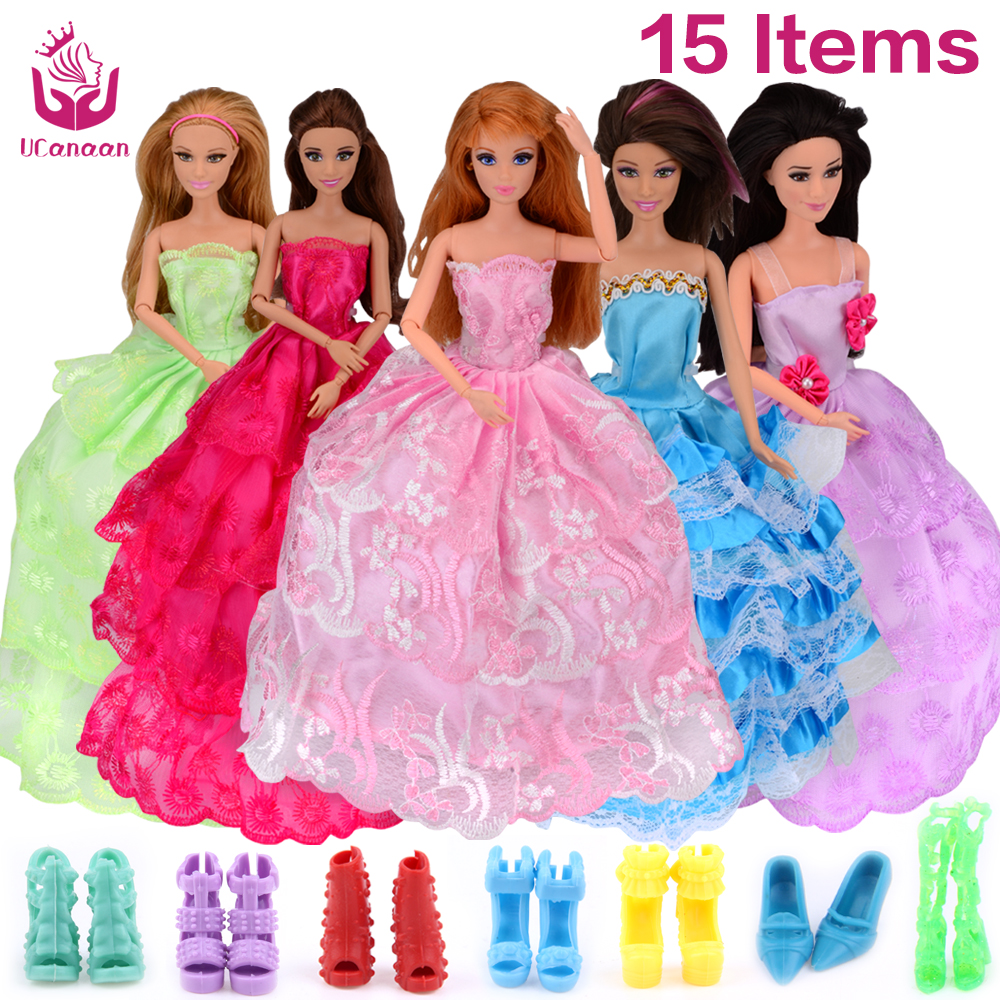 UCanaan Random Choose 15 Pcs Handmade Celebration Doll's Gown Garments Robe Princess Wedding ceremony Garments For Barbie Doll Equipment Swimsuit