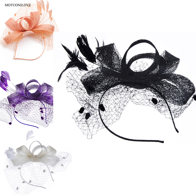 Woman Wedding Hats With Comb Black Feather Net Cover Face Bridal Hats For Women Elegant Wedding Facinators Accessoires Mariage