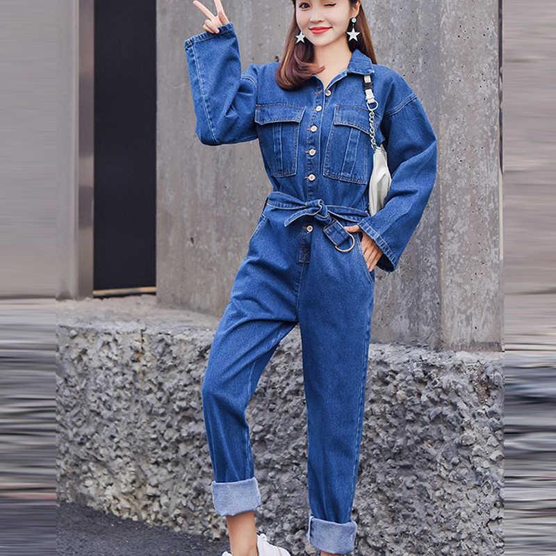 Blauw Vrouwen Retro Denim Jumpsuit Broek Rompertjes 2019 Herfst Streetwear Bodycon Vrouwelijke Losse Bf Stijl Hoge Taille Jeans Overalls