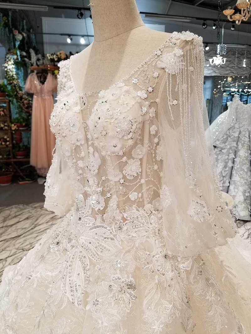 LS14400 свадебное платье с рукавамифонарь рукав оптовая красоты нарядное платье 2018 Сделано в Китае О-образным вырезом капелька свадебное торжественное платье с длинным шлейфом