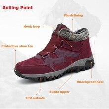 Купить с кэшбэком 2018 Winter Boots Women Warm Ankle Snowboots Flat Waterproof Winter Shoes Women Suede Plush Rubber Snow wedge Boots Big Size 42