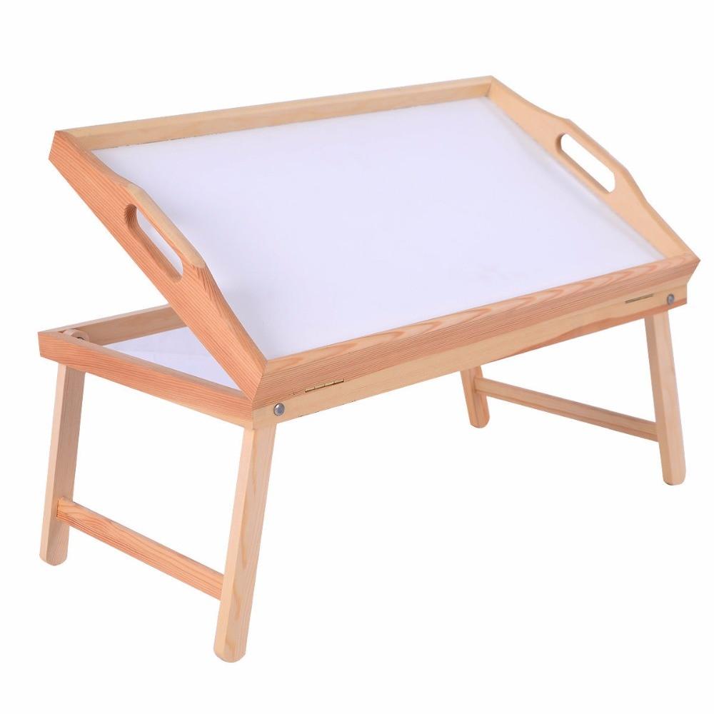 Goplus New Wood Bed Tray Modern Portable Breakfast Laptop Desk Food Serving Hospital Table Folding Legs Computer Desk HW52150