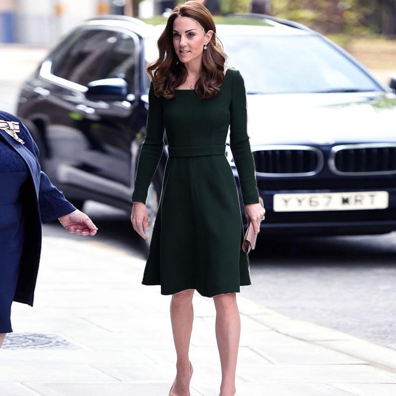 Kate Middleton Star Occasion officielle haute qualité Designer 2019 automne à manches longues femmes mode fête banlieue OL vert robe