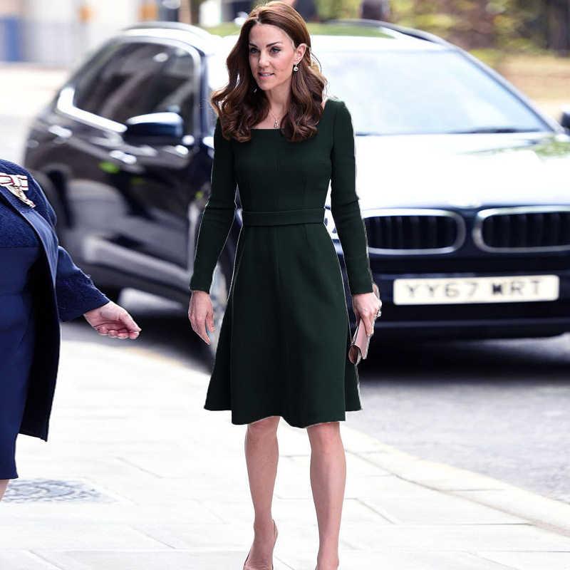 Kate Middleton Star Officiële Gelegenheid Hoge Kwaliteit Designer 2020 Herfst Lange Mouwen Vrouwen Fashion Party Commuter Ol Groene Jurk