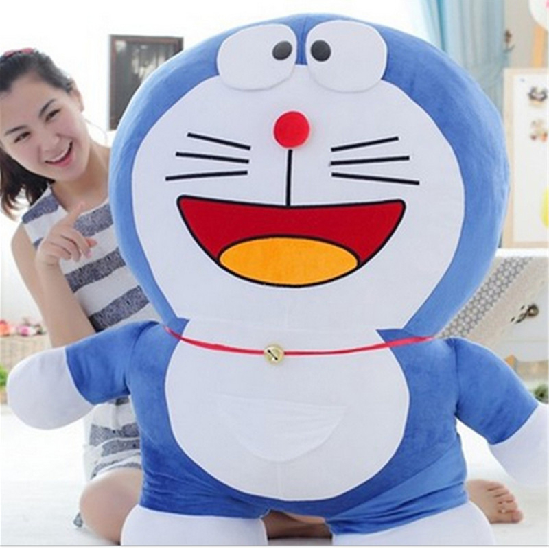 Fancytrader Pop Anime Japan Big Fat Doraemon Plush Toy Giant Blue Stuffed Cartoon Doraemon Cat Doll Nice Birthday Gift