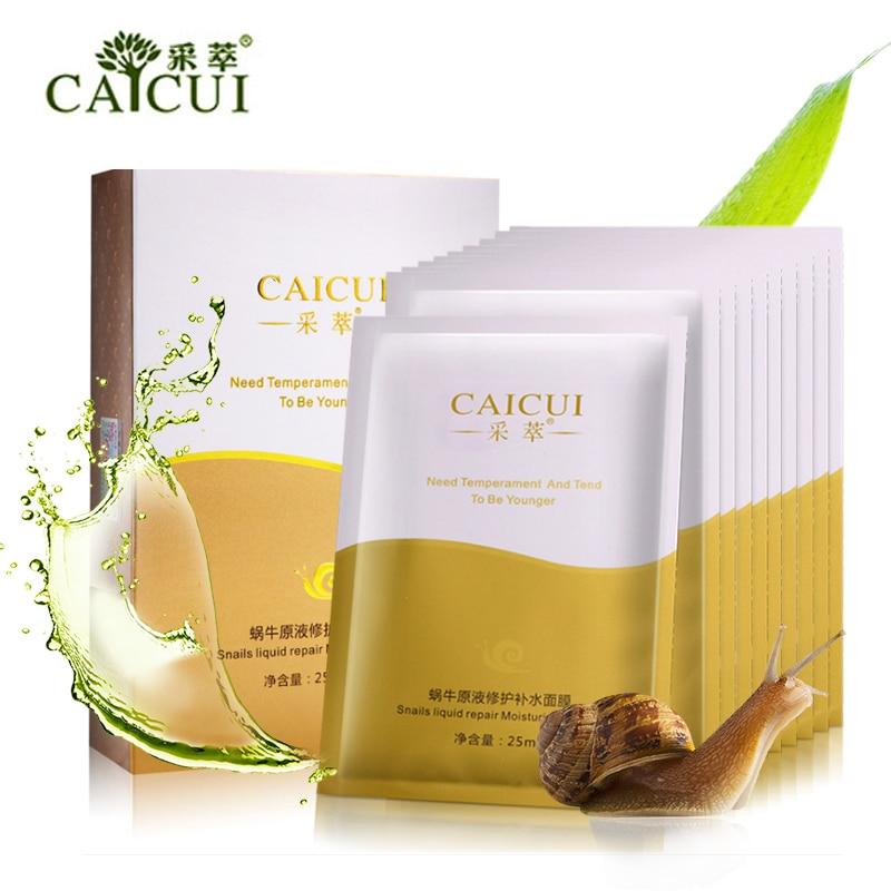 10 Pcs CAICUI Snail Hyaluronic Acid Face Mask Moisture Whiten Shrink Pores Anti Wrinkle Korea Facial Skin Care MasK