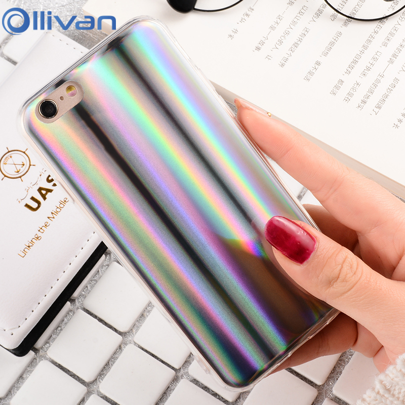 Rainbow shining Phone Case For iPhone 8 7 6 6S colourful soft TPU phonecase for iphone 6 6S 7 8 plus back cover bags coque capa
