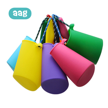 AAG Portable Children Bath Shower Toys Kids Silicone Beach Bucket Outdoor Folding Baby Beach Sand Play Water Toy Play Tool