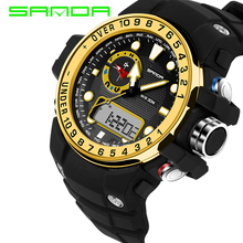 SANDA Men Sports Watches Waterproof Shock G Style Military Digital Watch Electronic Quartz Watches Men relogios masculinos 399