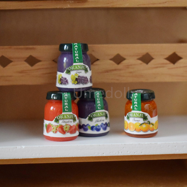 4pcs 16 Scale Dollhouse Miniature Jam Model Mini Doll Food