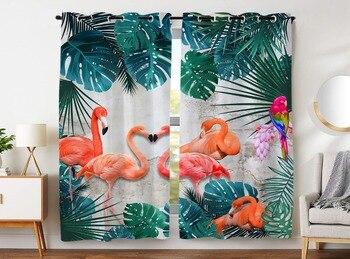 HommomH rideaux (2 panneau) passe-fil obscurcissant chambre occultant feuille de palmier flamant rose perroquet fleurs colorées