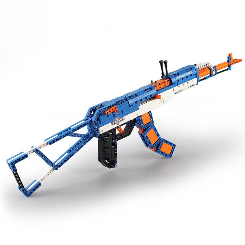 Bricolage pistolet jouets AK47 fusil modèle blocs de construction Parent interactif jouets cadeau d'anniversaire pour garçon adolescents Compatible avec L marque