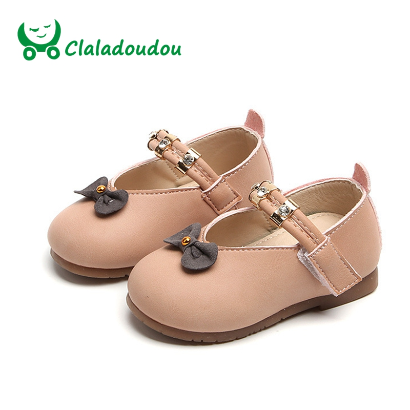 Claladoudou 12-14CM Brand Baby Girls Shoes PU leather High Quantity Toddler Princess Girls Party Dress Shoes Rhinestone Bow Flat