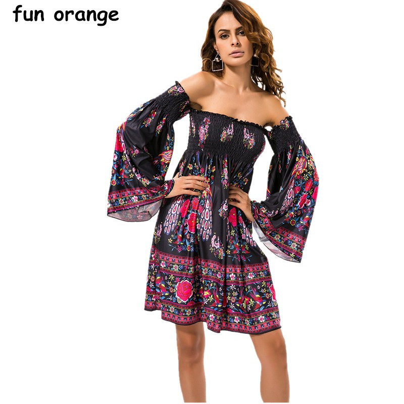 ac96bf73a6320 US $25.99 |Fun Orange Sexy Backless Off Shoulder Flower Dress Summer Slash  Neck Black Party Dresses Short Robe Femme Long Sleeve Sundresses-in Dresses  ...