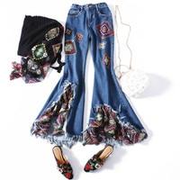 2018 женские летние джинсы Skinny Flare брюки вышивка Лоскутная сращены ботильоны Длина брюки кисточкой бахромой Зауженные джинсы Для женщин