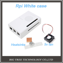 Raspberry Pi 2 Model B White Case Cover compatible with RPI B plus + Raspberry Pi Aluminum Heat Sink + 5v 3010 Cooler Fan