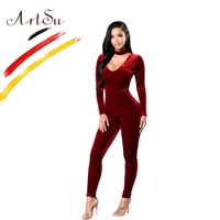 ArtSu V Neck Choker Long Sleeve Slim Women S Velvet Jumpsuit Sexy Club Playsuit Rompers 2017