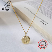 925 Sterling Silver Retro Celebrity Style Abstract Portrait Pendant Necklaces Golden Coin Design Necklace New Fashion Jewelry