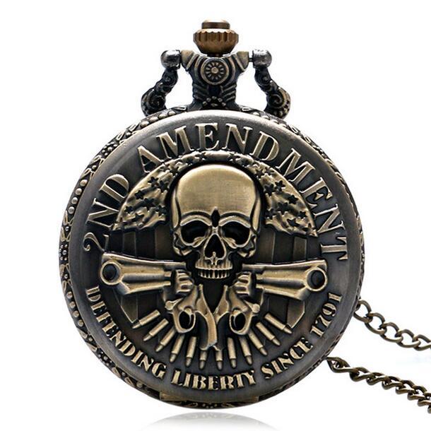 Bronze DEFENDING LIBERTY SINCE 1791 2nd AMENDMENT MILITARY Gun Skull Quartz Pocket Watch Pendant Necklace Men Women Watches Gift