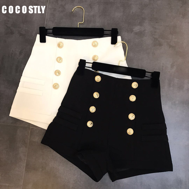 Black White Shorts Women Double-breasted Casual High Waist A-Line Wide Leg Black Shorts Female Autumn