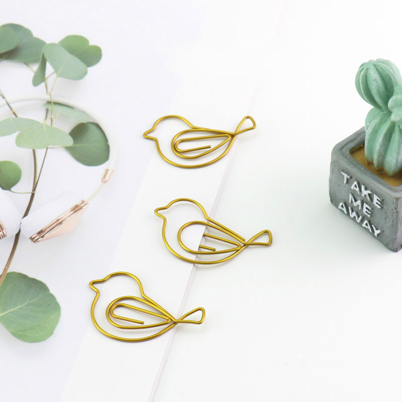 Gold Bird Paperclip Lovely Handbook Decoration Bookmark Clip Pin Creative Stationery Paper Clip Gold Paper Clips Cute Gold Clips