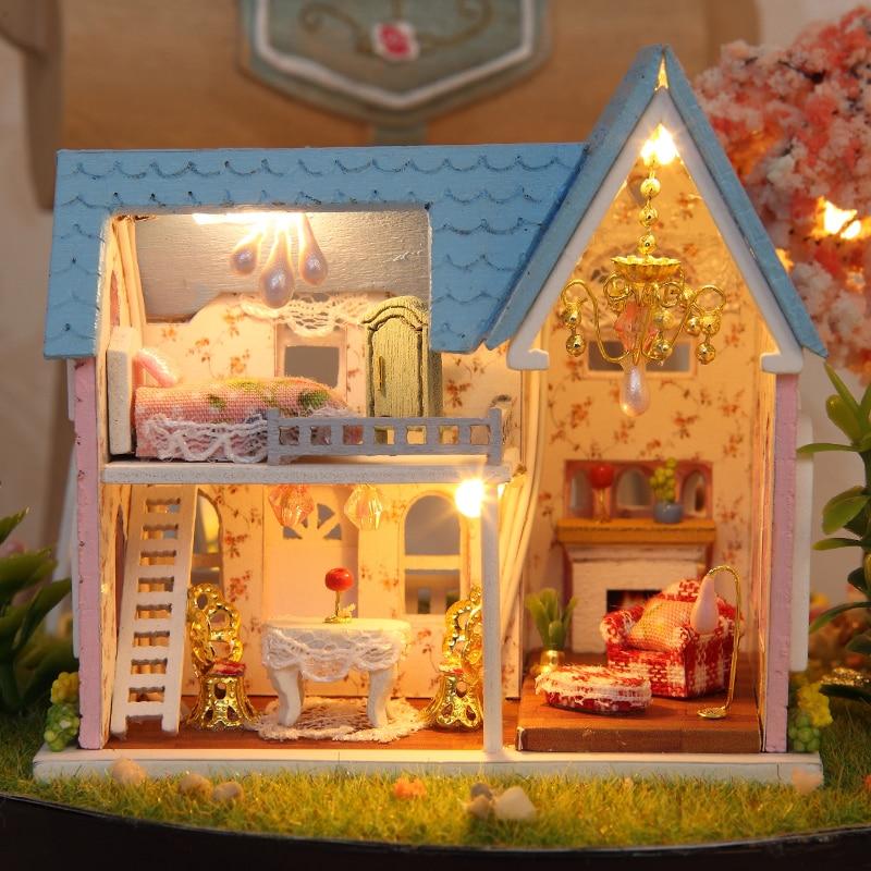 Möbler DIY Doll House Wodden Miniatura Doll House Möbel Kit Glass - Dockor och tillbehör - Foto 6