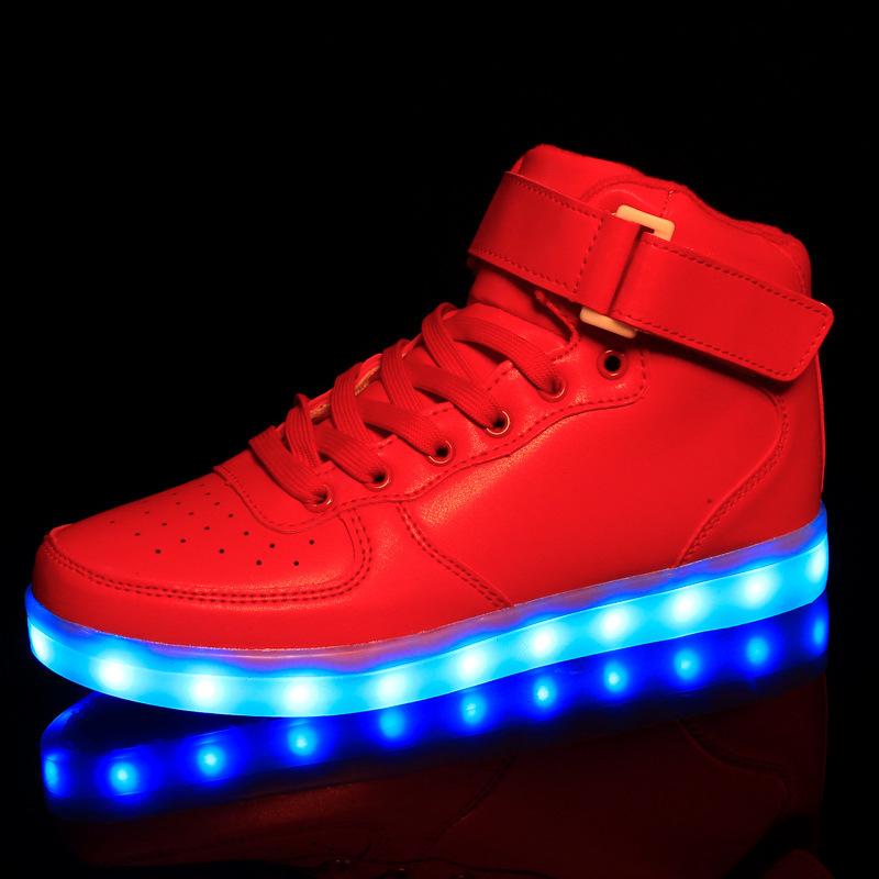 Men's Casual Shoes High To Help Casual Shoes Led Colorful Led Light Shoes Usb Rechargeable Shoes Wholesale