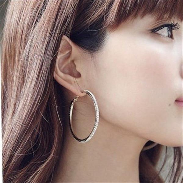 40MM Silver/Gold Fashion Basketball Wives Crystal Rhinestone Hoop Earrings Free Shipping