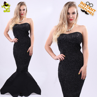 Women Black Sexy Mermaid Tail Costumes Adult Carnival Masquerade Party Super Sexy Shaping Mermaid Girl Dress up Fancy Dress