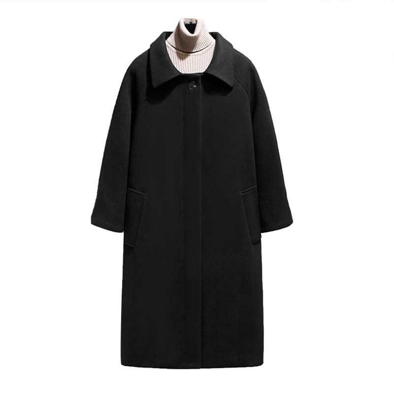2019 Winter Long Woolen Coat Women Black Casual Female ...