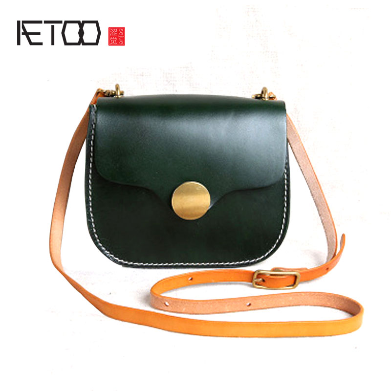 AETOO Original handmade women leather handbags mini bag leather leather shoulder bag Messenger bag simple makeup brushes set tool 18 15pcs brushes