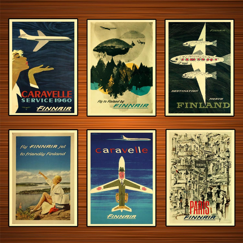 ART NOUVEAU VINTAGE PRINT painting POSTER FINLAND AIR TRAVEL 1960 Helsinki