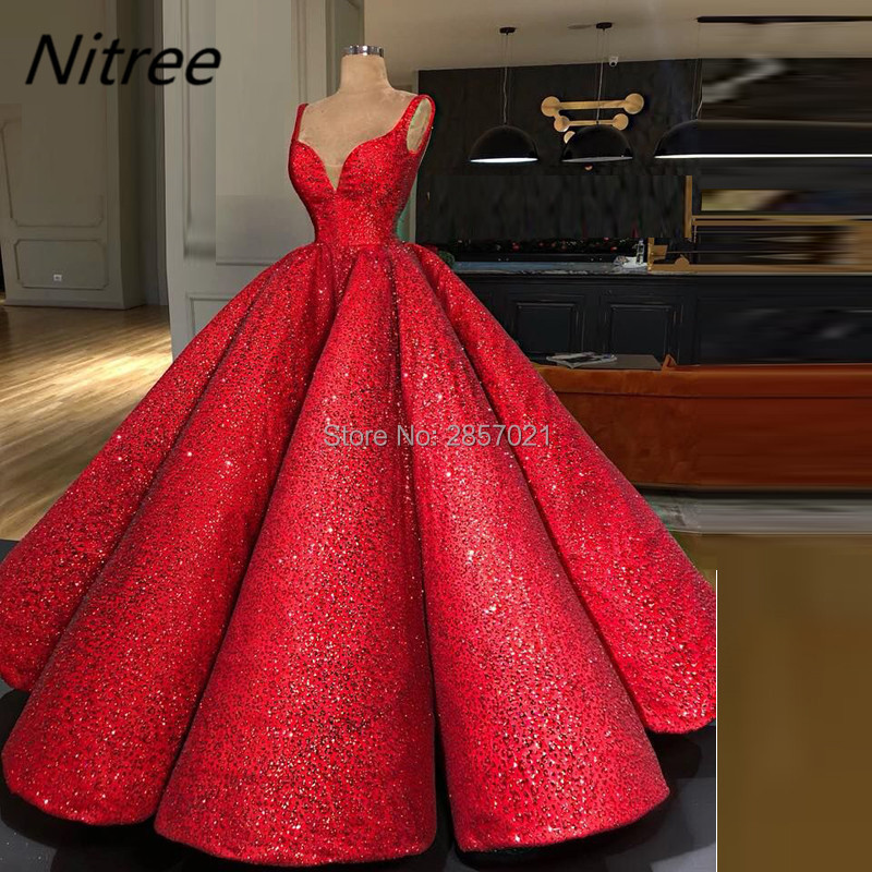 Red Ball Gown Dresses: Sexy Red Ball Gown Evening Dresses Crystals V Neck