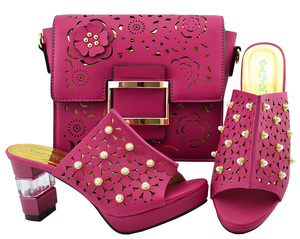 Image 4 - Zapato italiano y bolsa Conjunto de zapatos y bolsos africanos de tacón alto, zapato con bolsa italiana, superventas, a juego, YM007