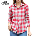 TLZC Lady Fashion Cotton Blouses Long Sleeve Clothing Size S-XL Turn-down Collar Girls & Women Casual Plaid Shirts