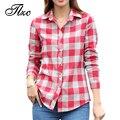 Tlzc lady moda blusas de algodão manga longa clothing tamanho s-xl turn-down collar girls & women casual camisas xadrez